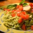 plated-pesto-pasta-with-chicken-with-basil-garnish05-580x447